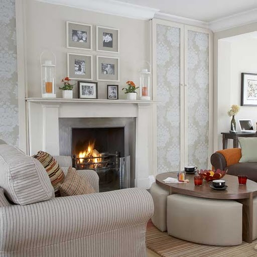 living room designs with fireplace photo - 5