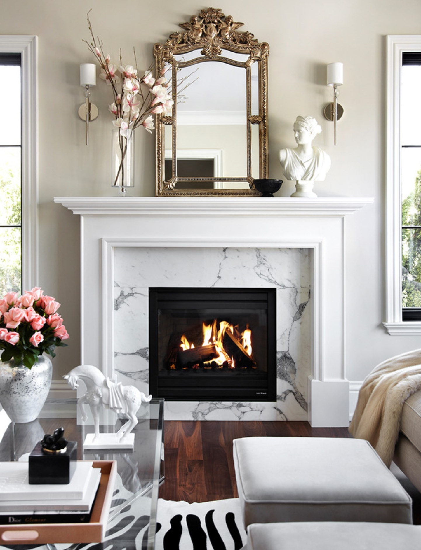 living room designs with fireplace photo - 7