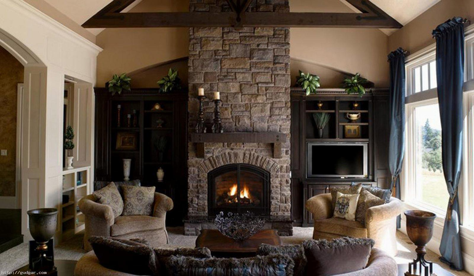living room designs with fireplace photo - 8
