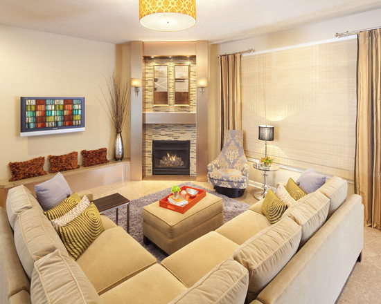 living room furniture ideas+fireplace photo - 6