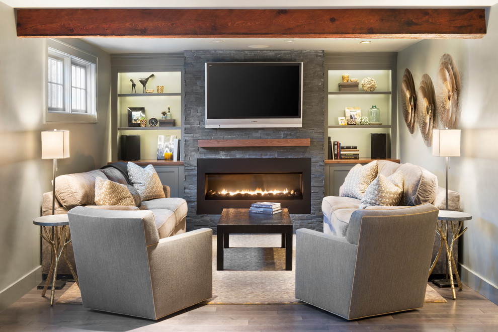 living room furniture ideas+fireplace photo - 8