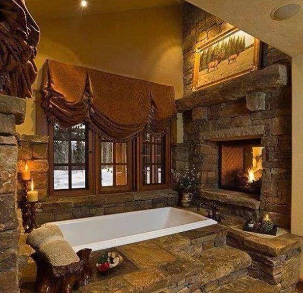 log home bathrooms photo - 10
