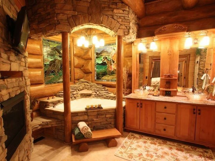 log home bathrooms photo - 2