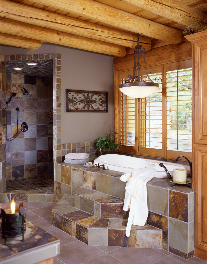 log home bathrooms photo - 3
