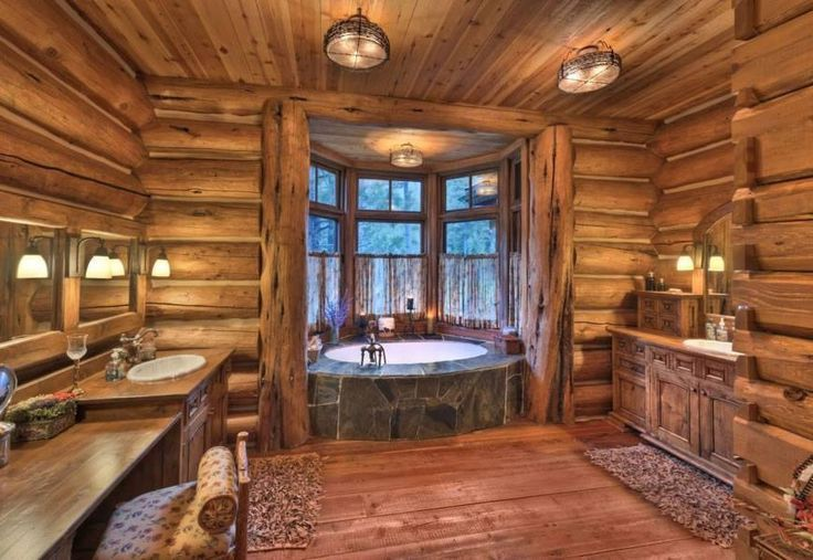 log home bathrooms photo - 4