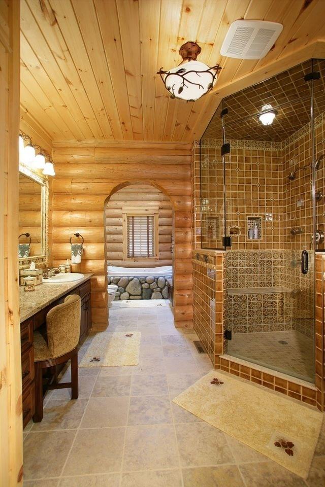 log home bathrooms photo - 6