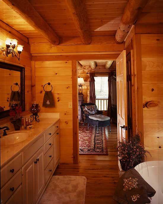 log home bathrooms photo - 7