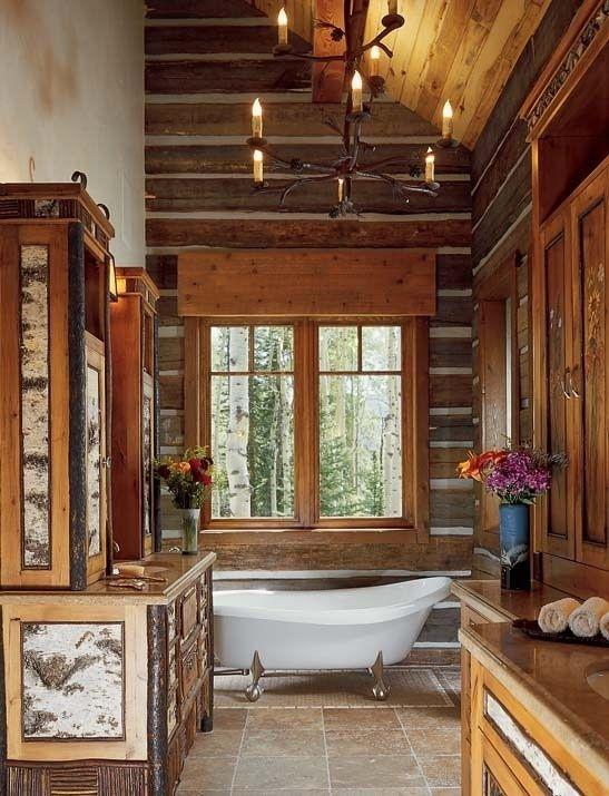 log home bathrooms photo - 8
