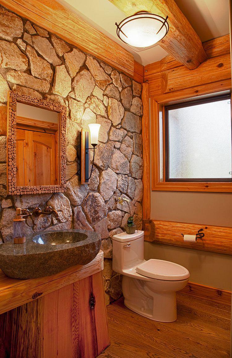 log home bathrooms photo - 9