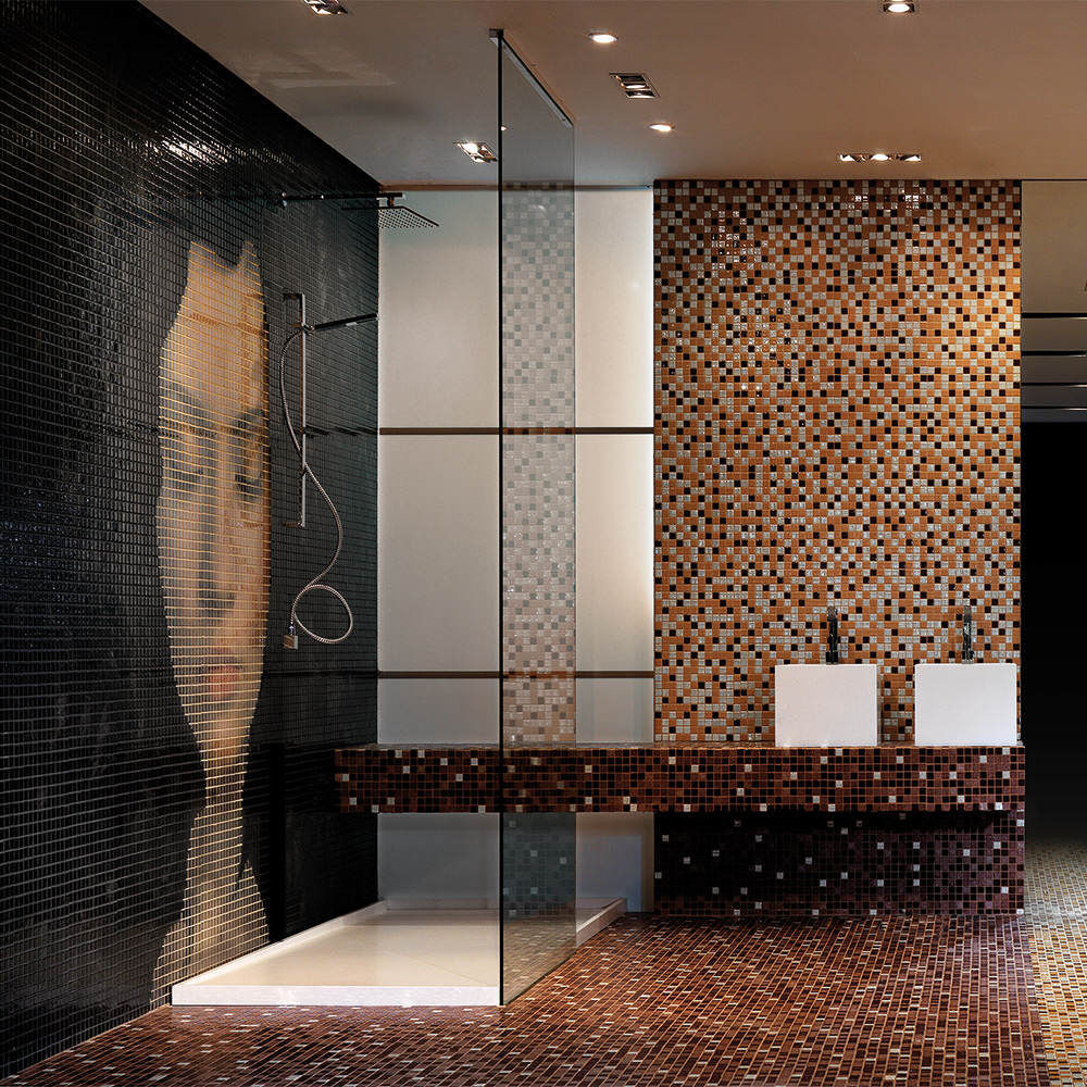 luxury bathroom glass tile photo - 2