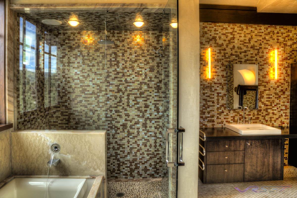luxury bathroom glass tile photo - 5