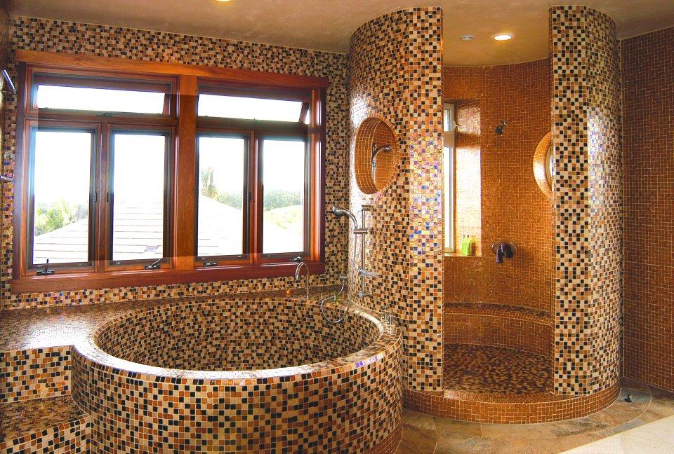 luxury bathroom glass tile photo - 7