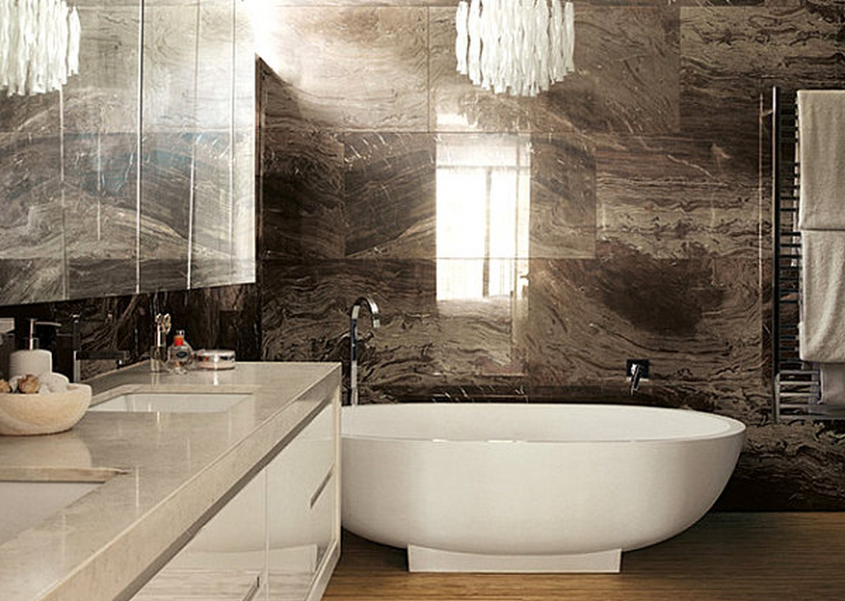luxury bathroom glass tile photo - 8