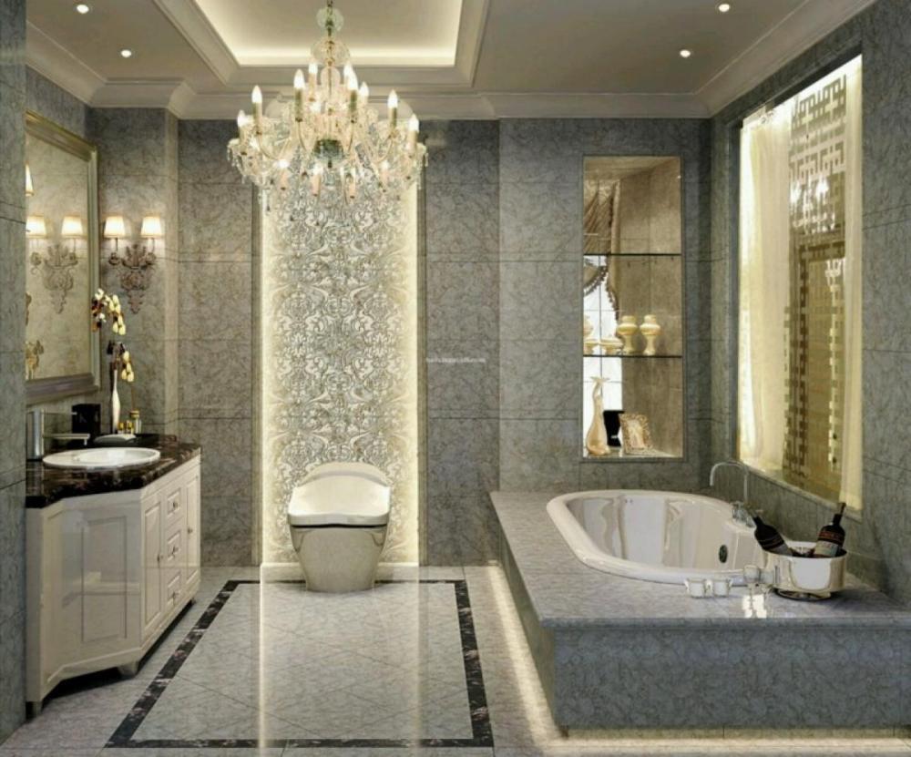 luxury bathroom glass tile photo - 9