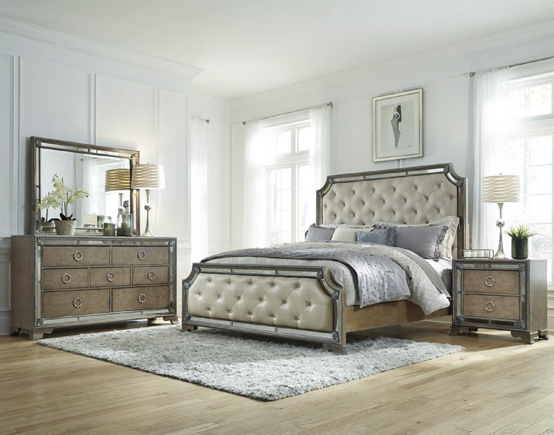 mirrored bedroom furniture set photo - 2