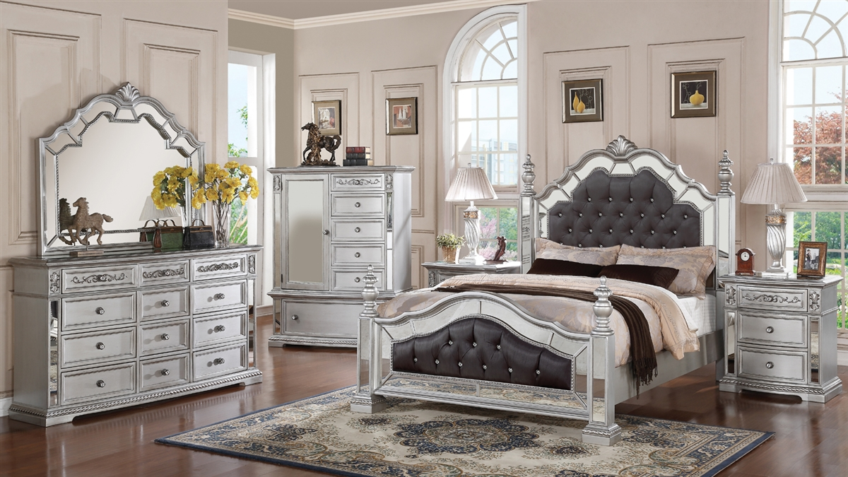 mirrored bedroom furniture set photo - 3