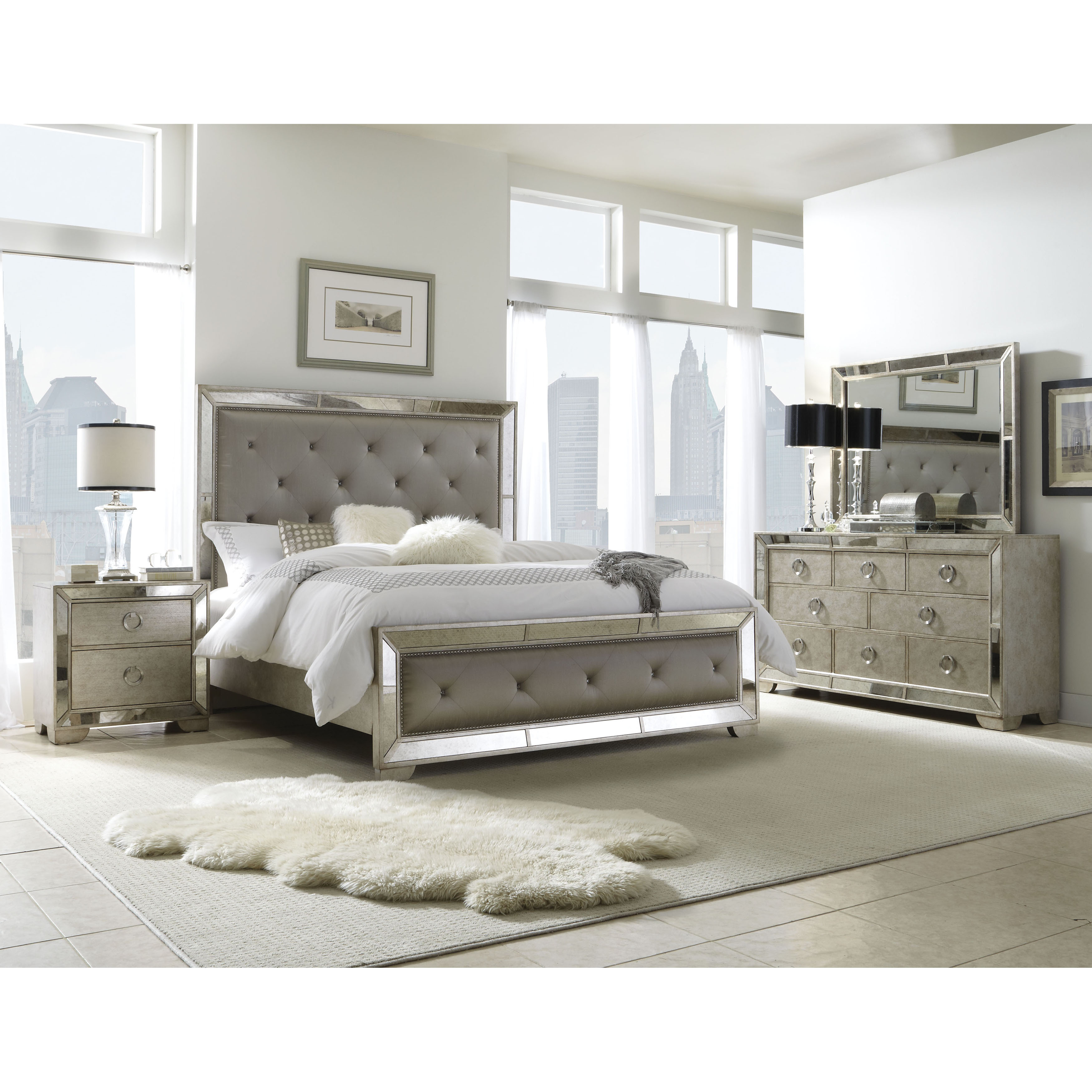 mirrored bedroom furniture set photo - 4