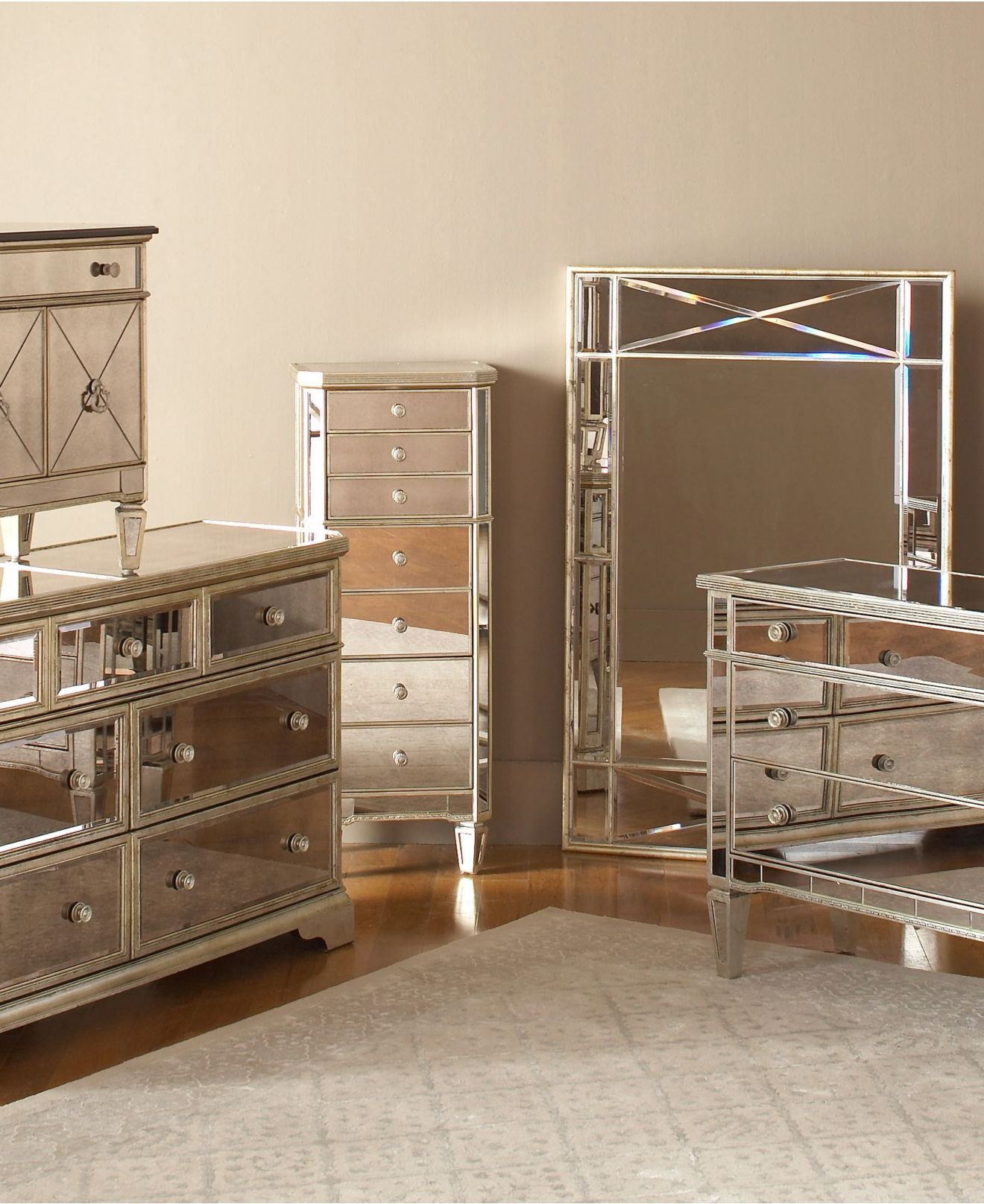 mirrored bedroom furniture set photo - 5