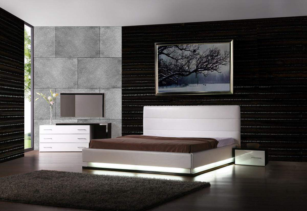 modern bedroom sets with lights photo - 1