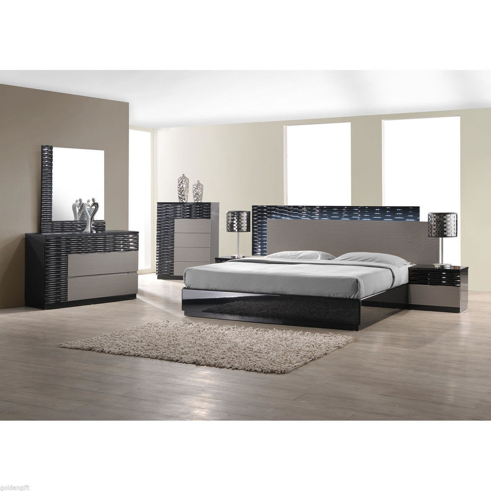 modern bedroom sets with lights photo - 4