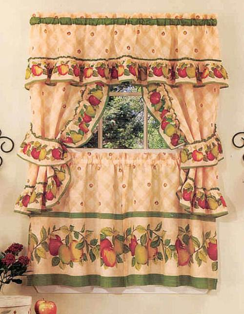 modern country kitchen curtains photo - 1
