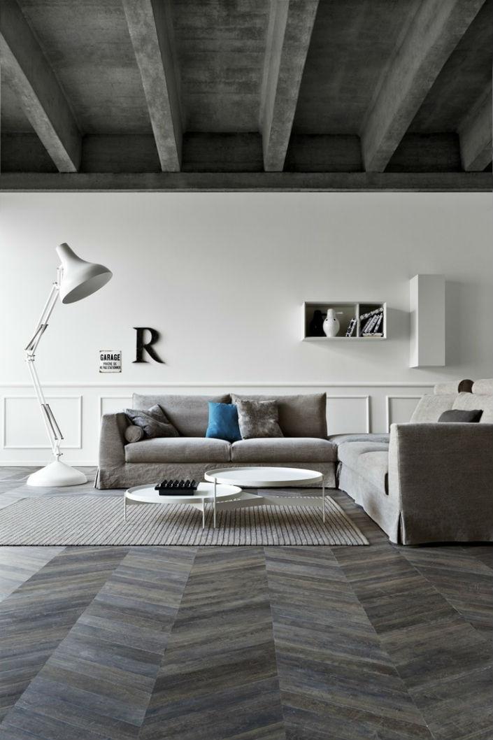 modern floor tiles living room photo - 1