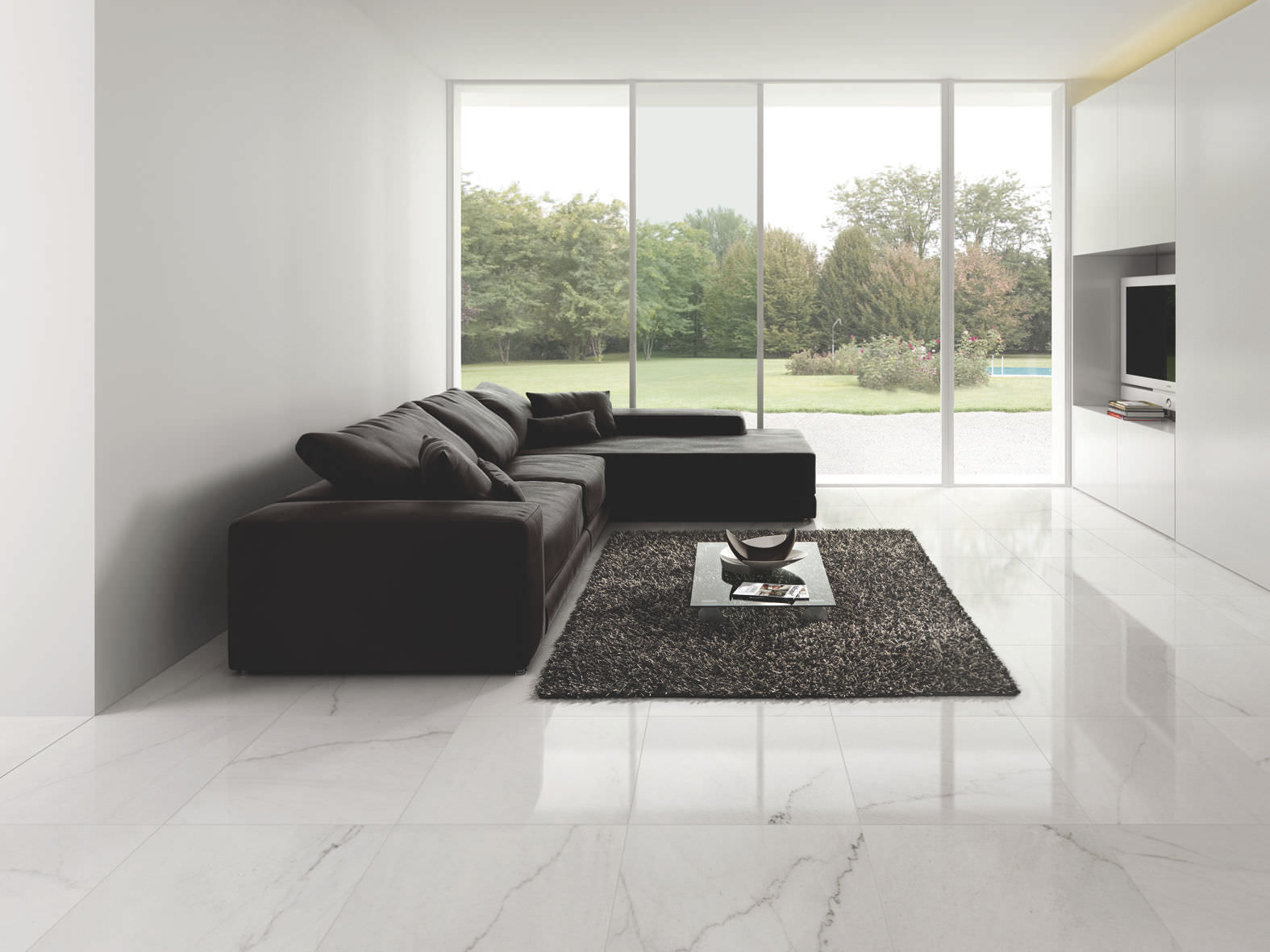 modern floor tiles living room photo - 10