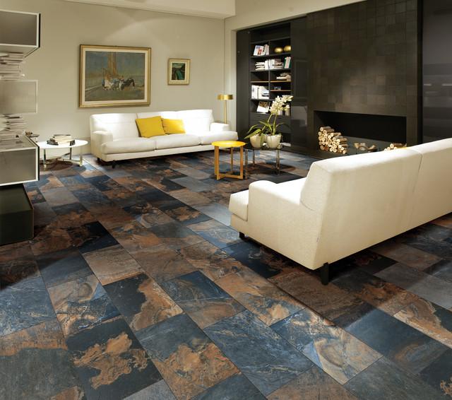 modern floor tiles living room photo - 5
