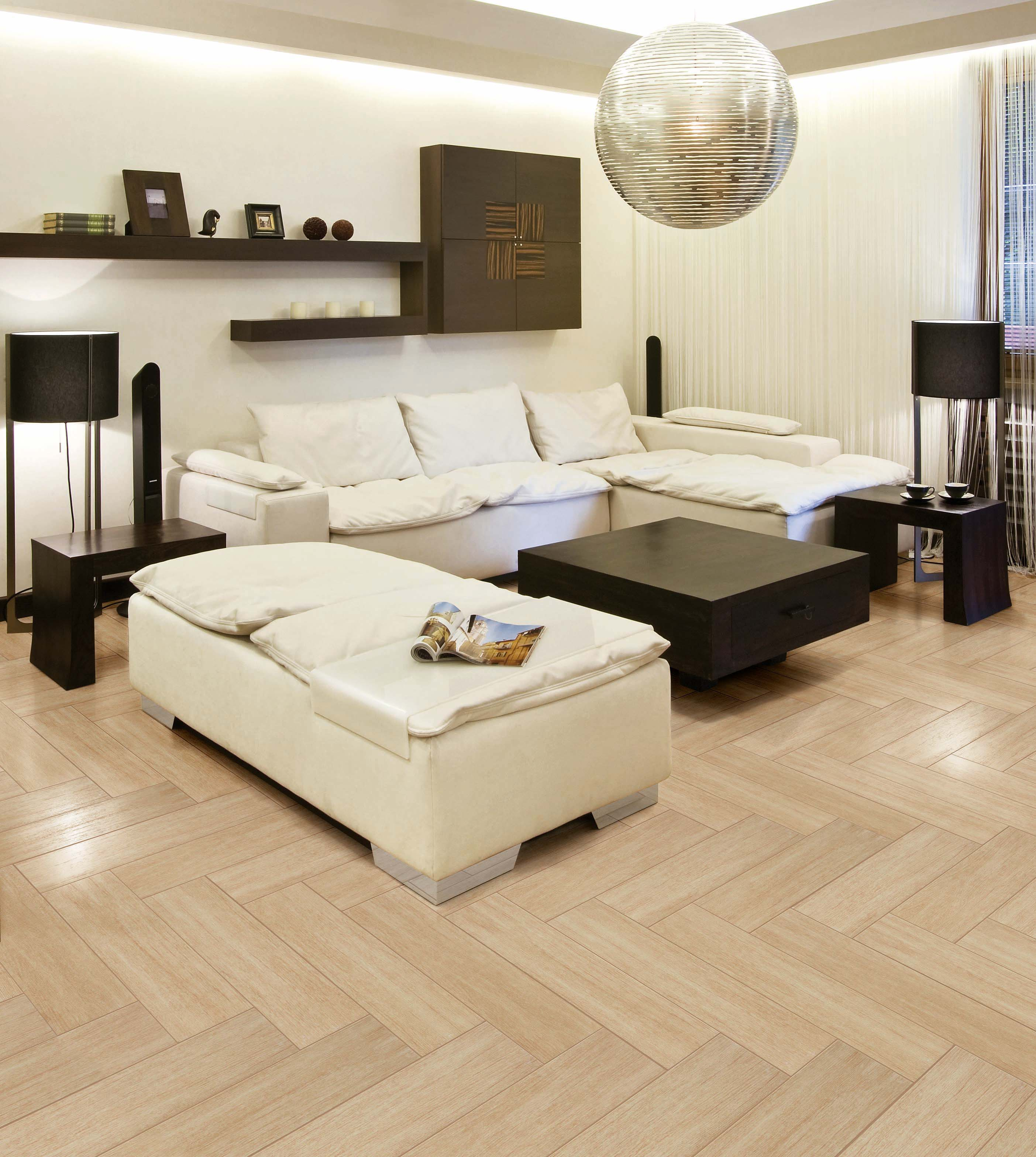 modern floor tiles living room photo - 6