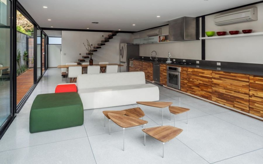 modern floor tiles living room photo - 7