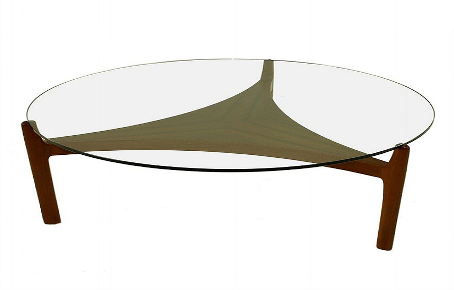 modern round coffee table glass photo - 3