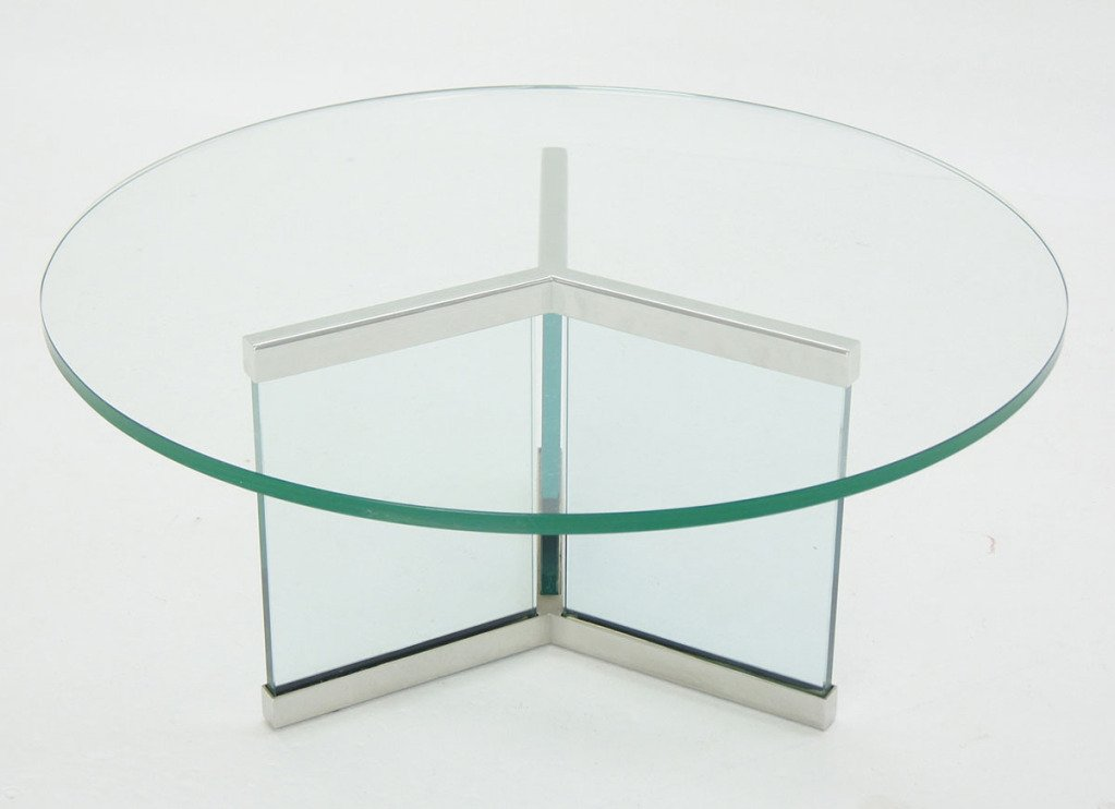 modern round coffee table glass photo - 4