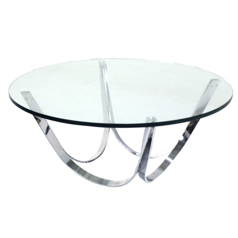 modern round coffee table glass photo - 6