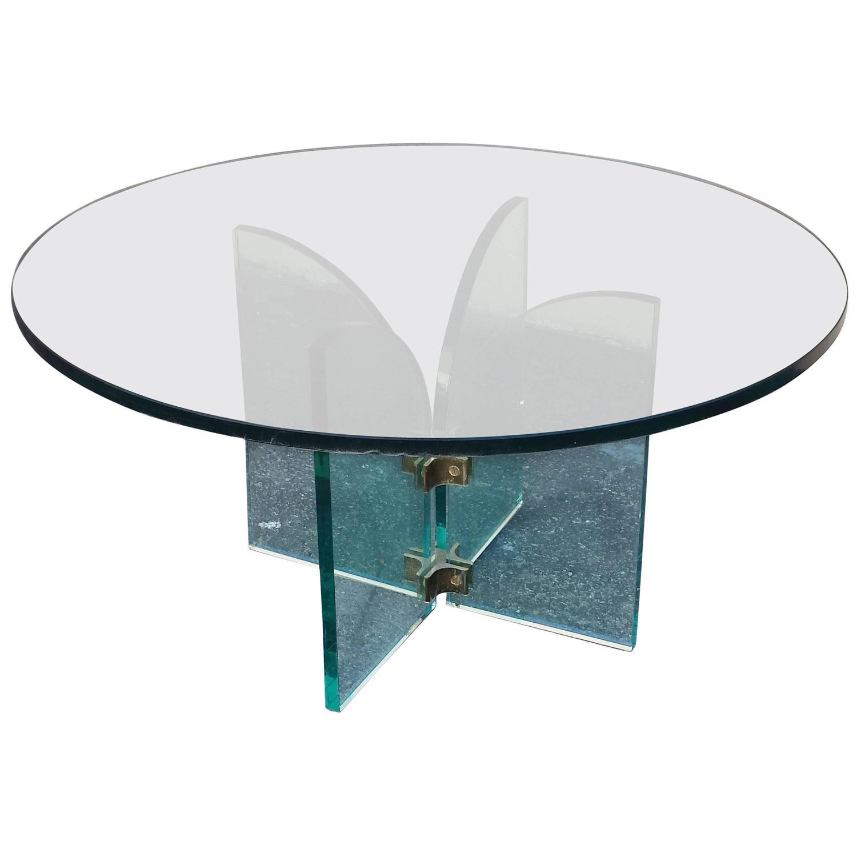 modern round coffee table glass photo - 9