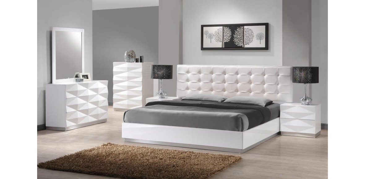 modern white bedroom furniture sets photo - 7