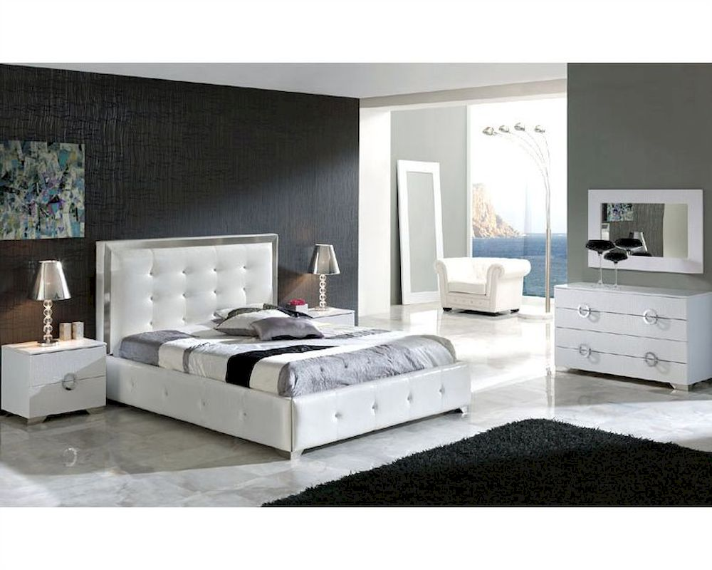 modern white bedroom furniture sets photo - 8