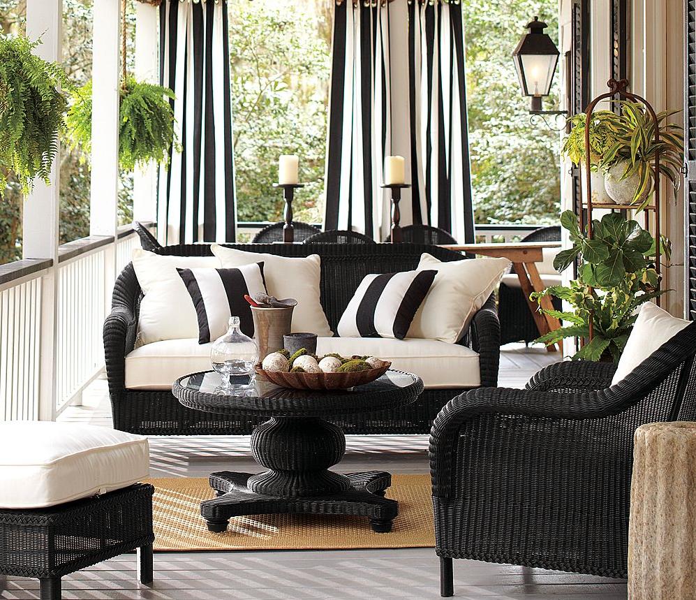 outdoor curtains black white stripe photo - 1