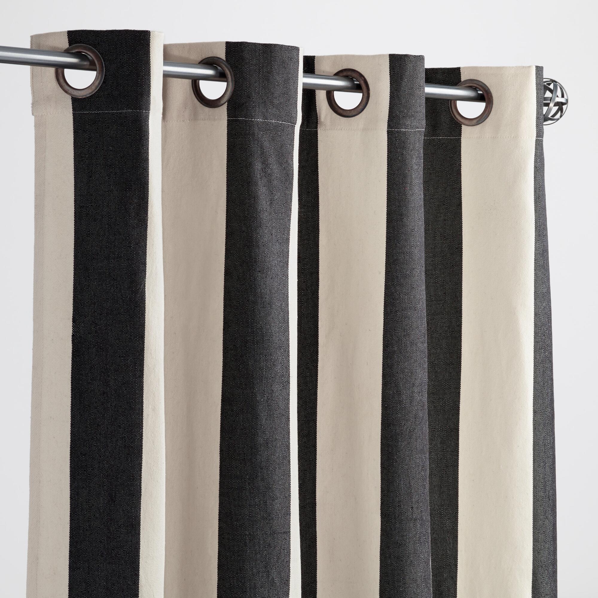 outdoor curtains black white stripe photo - 2