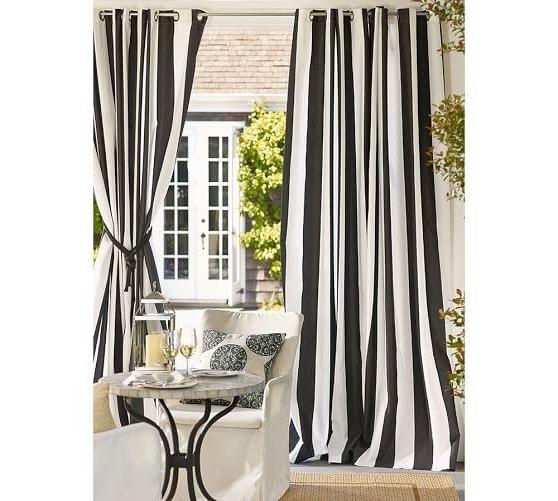 outdoor curtains black white stripe photo - 5