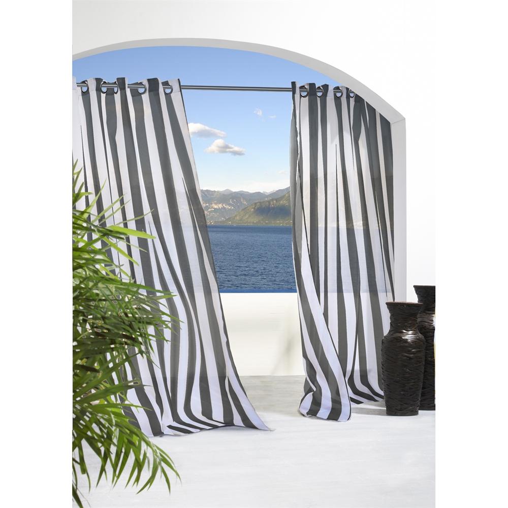 outdoor curtains black white stripe photo - 8