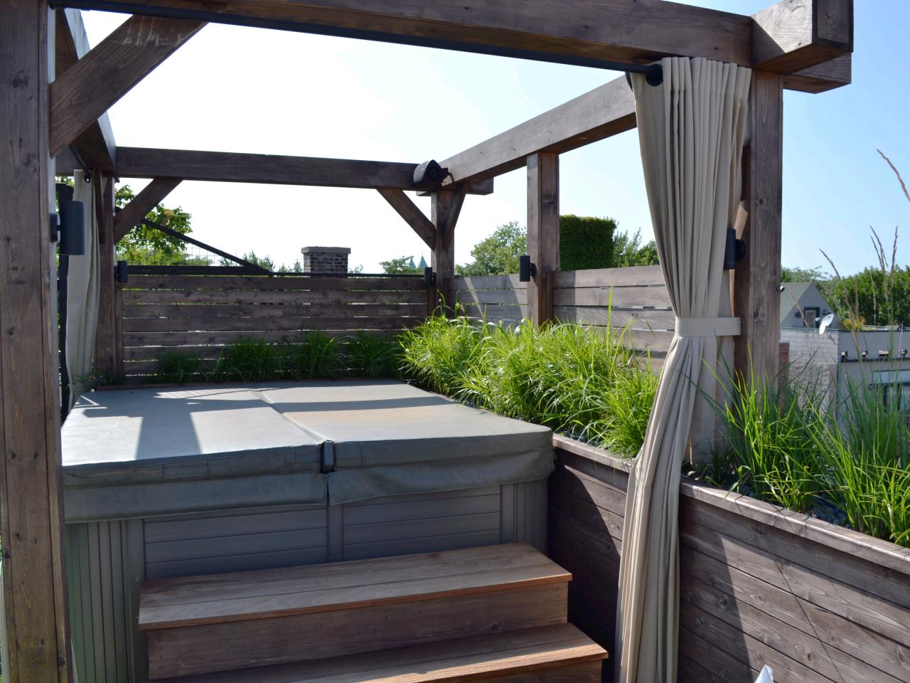 Outdoor curtains for hot tub   Hawk Haven