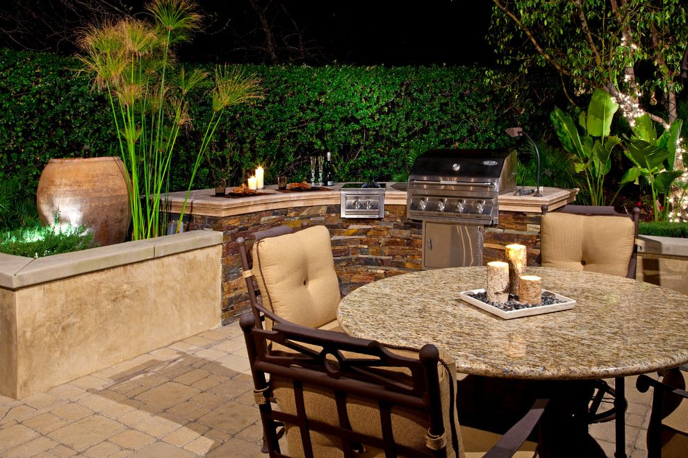 outdoor dining table with grill photo - 9