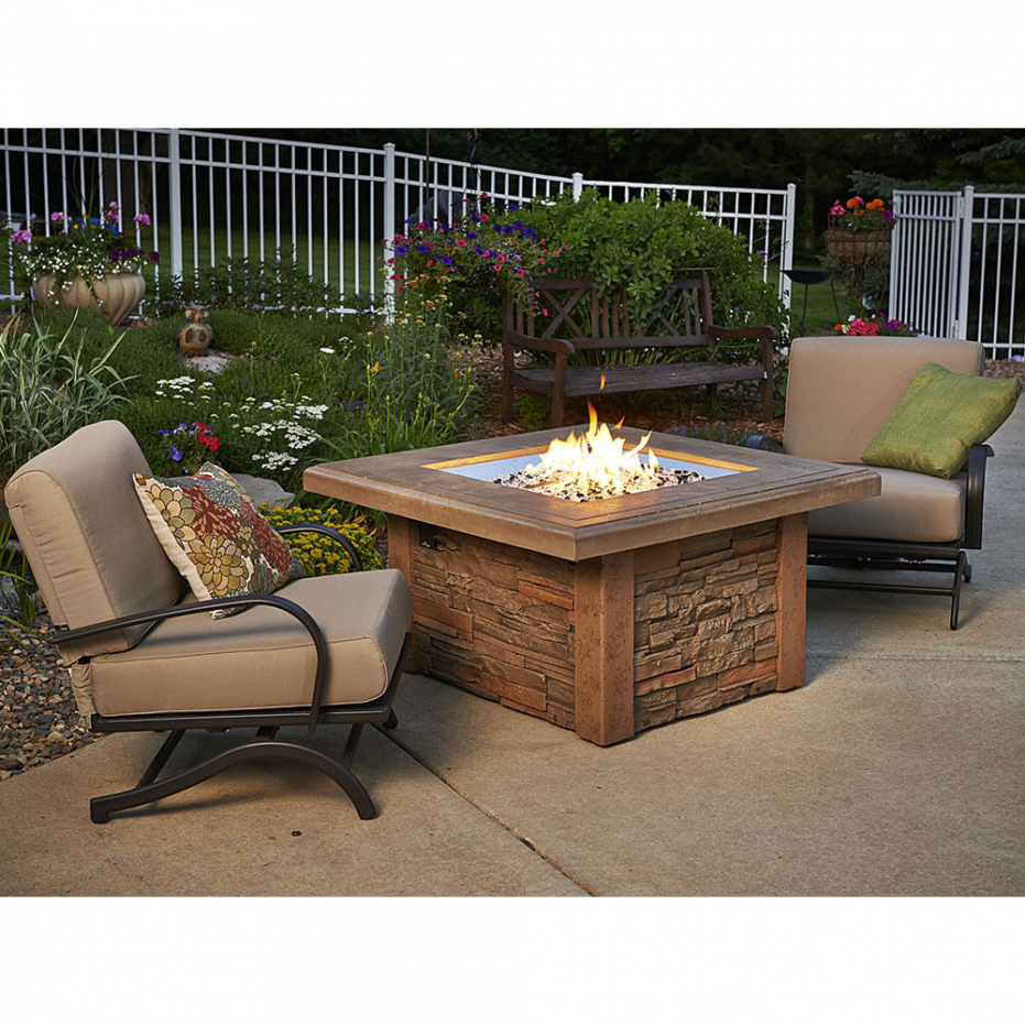 outdoor dining tables with gas fire pit photo - 10