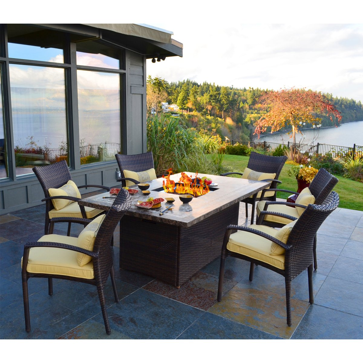 outdoor dining tables with gas fire pit photo - 3