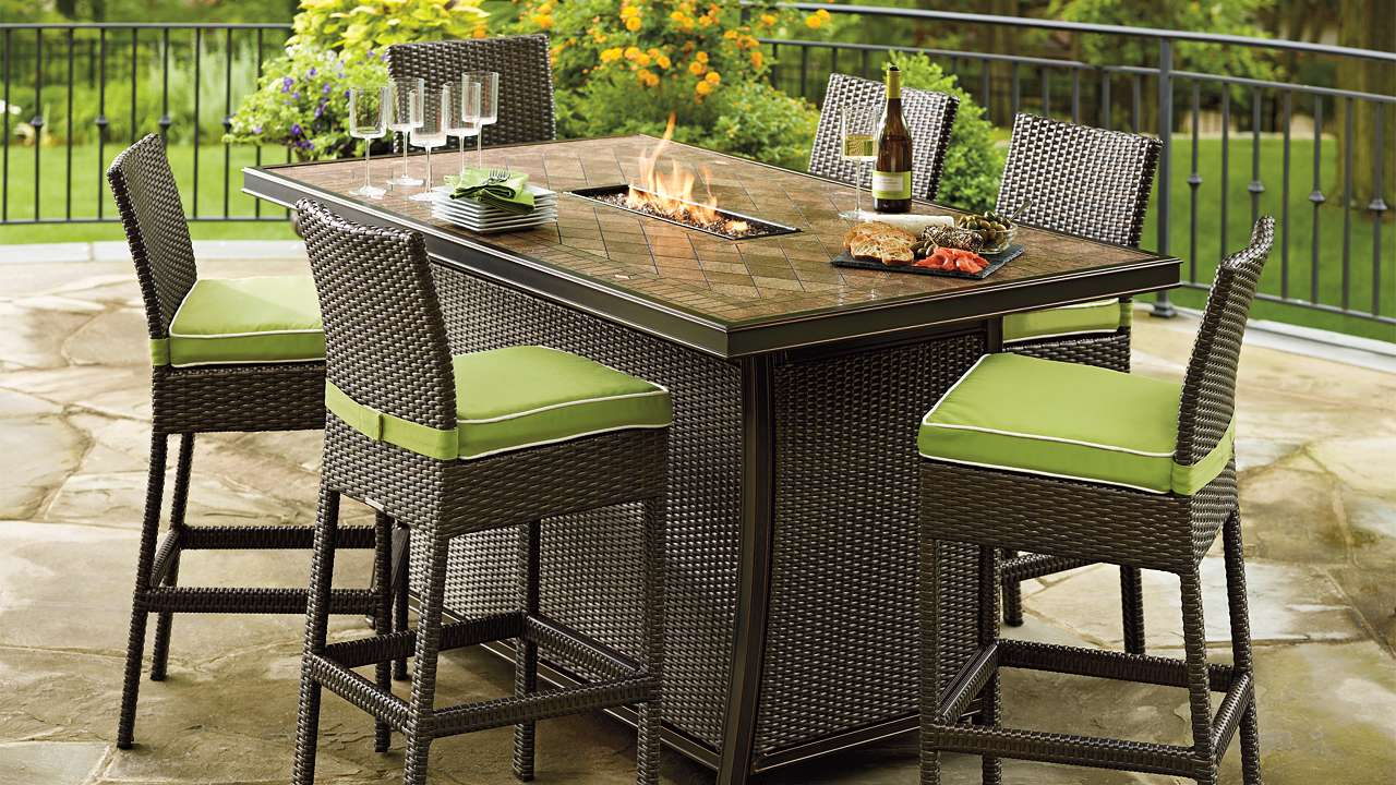 outdoor dining tables with gas fire pit photo - 5