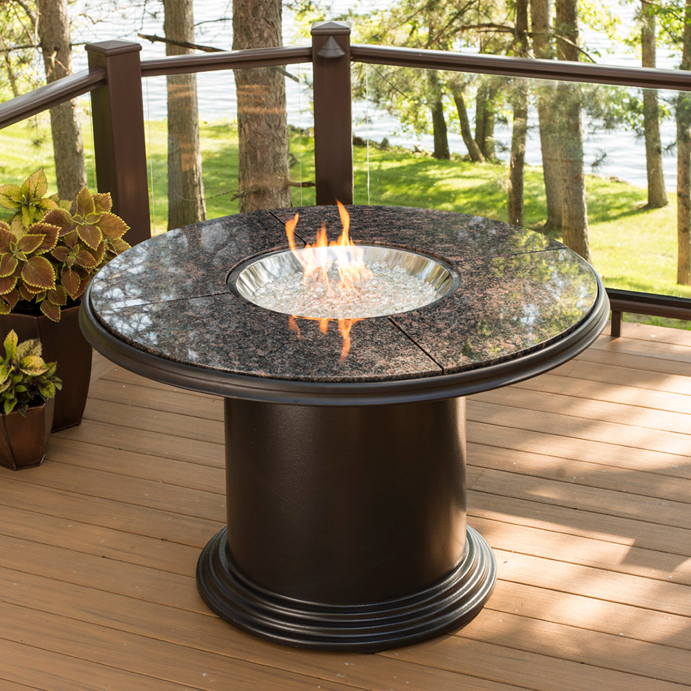 outdoor dining tables with gas fire pit photo - 7