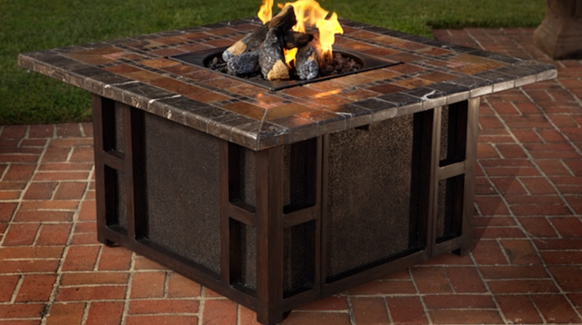 outdoor dining tables with gas fire pit photo - 9