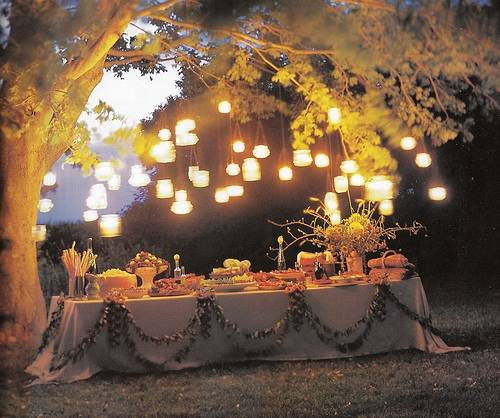 outdoor dinner party lights photo - 3