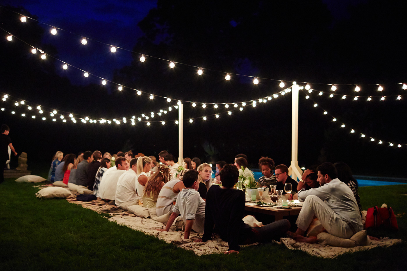 outdoor dinner party lights photo - 7