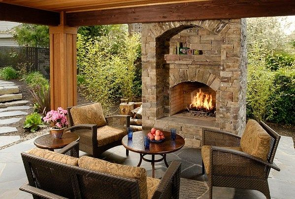 outdoor kitchen and fireplace designs photo - 7
